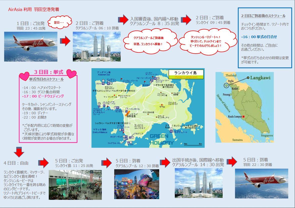 マレーシア ランカウイ島 Air Asia利用 モデルスケジュール