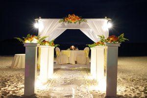 malaysia beach wedding diner session setup